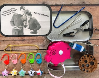 There MUST be room in the budget for more yarn - Knitter's Tool Tin for your knitting project bag