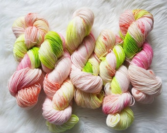 Spring Fever-75 Percent Superwash Merino Wool, 25 Percent Nylon, Hand Dyed Yarn, Fingering Weight, Sock Yarn, 4 Ply 100gm Hank