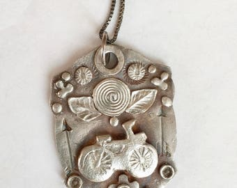new bicycle amulet pendant in sterling