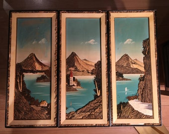 Vintage Japanese Triptych Harbor Scene Picture With Natural Materials