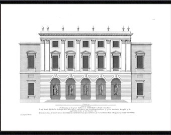 Somerset House architectural antique reproduction print architecture print vintage architecture print art