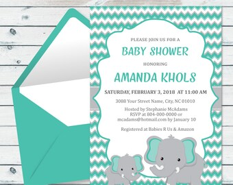 Teal Elephant Baby Shower Invite, Personalized Elephant Baby Invite, Teal And Gray Baby Invitation, Turquoise Baby Elephant Shower