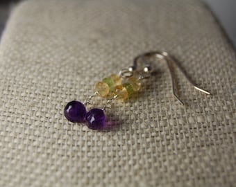 Amethyst briolette, Peridot & Citrine briolette earrings. Gemstone briolettes, Sterling silver, February, November, and August birthstones.