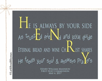 Holy Communion First Communion Gift Christian Wall Art Religious Gifts Inspirational Kids Godson Gift Personalized Name Poem 8x10 Henry