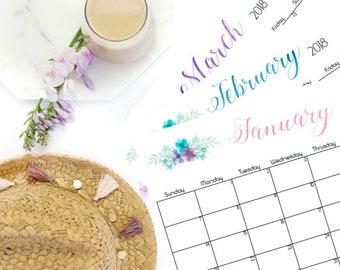 2018 Floral Calendar Printable, Watercolor Flower Calendar, Desk Calendar, Wall Calendar, Printable Office Calendar, 2018 Monthly Calendar