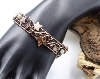 Copper Leaf Bracelet, Faerie Cuff, Wire Wrapped Bracelet, Woodland Leaf Cuff, 7 Copper Anniversary Gift, Leaf Jewelry, Elven Bracelet