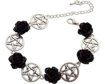 Black Rose and Pentacle Charm bracelet