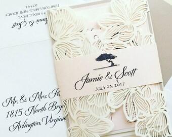 Blush Laser Cut Wedding Invitation - SAMPLE   Laser Cut Wedding Invitation   Floral Laser Cut Wedding Invitation