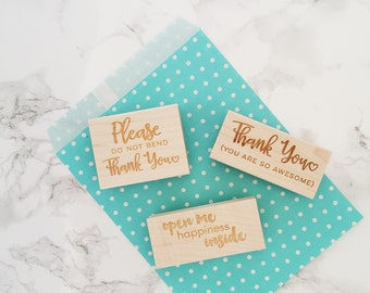 Packaging Stamp Combo Pack - 3 Stamps - Stamps for Shipping, Etsy Shop Stamp, Stamp for Shop Owners, Thank You Stamp, Do Not Bend, Stamp Set