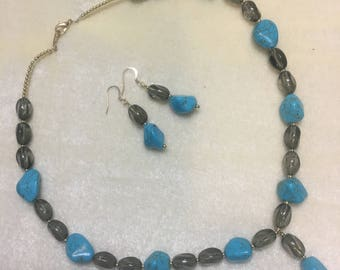 Turquoise and smoky glass earrings and necklace set