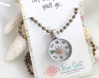 Graduation gift for girl - high school graduation - silver compass necklace - oh the places you'll go