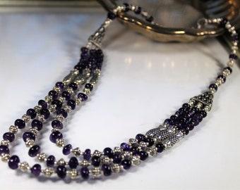 Amethyst necklace, multi strand necklace, purple necklace, statement necklace, beaded necklace
