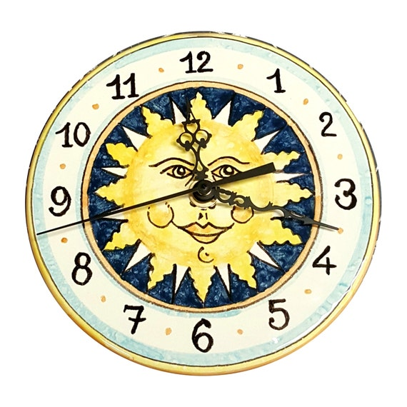 Italian Ceramic Wall Clock Decorated Sun Hand Painted Made in