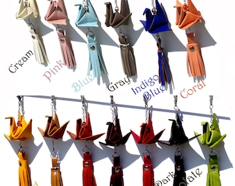 Choose your Favorite Color - Genuine Leather Origami Crane Tassel - Zipper Pull Tassel - Purse Tassel - Key Chain Tassel
