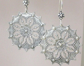 Large silver filigree earrings, fancy antiqued floral statement earrings, antiqued filigree, bohemian, lightweight silver