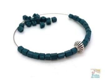 10 gr dark blue glass beads cubes seed beads 4x4mm (pv770)