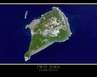 Iwo Jima Japan Satellite Poster Map