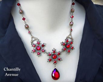 Ruby Red Art Nouveau Necklace Rhinestone Jewelry Handmade Victorian Style