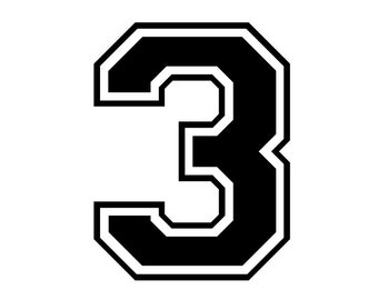 Iron on number 3 for tshirt transfer INSTANT DOWNLOAD