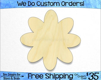 Daisy Flower Petals - Large & Small - Pick Size - Unfinished Wood Cutout Shapes Garden Wall Room Decoration Green House (SO-0144)*1-24