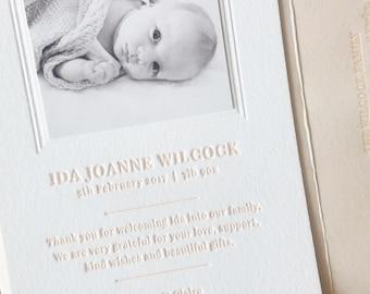 Letterpress Birth Announcement - Ida Sample