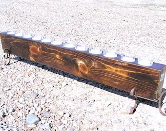 Wooden Sugar Mold CANDLE Holder COMPLETE Set WITH 12 glass votives 0308 et