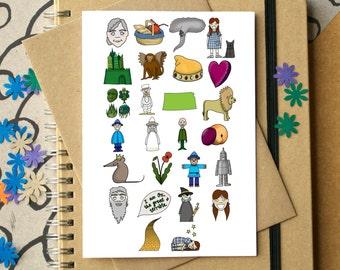 Wizard of Oz Alphabet Greetings Card - L Frank Baum art - Dorothy alphabet card - literature art card - Wizard of Oz art