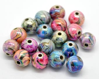 Set of 10 spacer beads acrylic pattern 12mm round