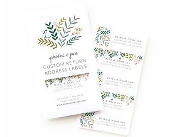 Personalized Return Address Labels | Custom Return Address Labels Set of 30 : Garden Wreath Personalized Address Labels
