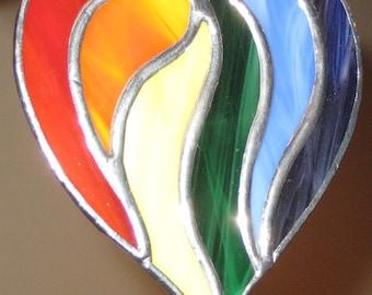 Multi Colored Rainbow Heart Sun Catcher