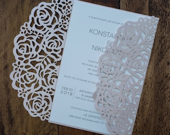 Blush Laser Cut Wedding Invitation, Blush Laser Cuts, Blush Laser Cut Invitation, Floral Laser Cut Invitation, Romantic Laser Cut Invitation