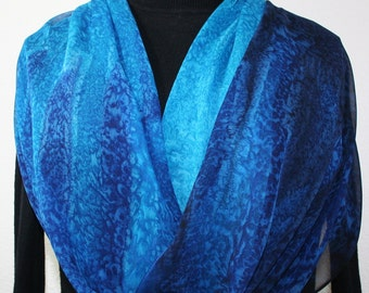 Blue Silk Scarf. Hand Painted Silk Shawl. Blue Turquoise Hand Dyed Scarf BLUE MORNING. Large 14x72. Birthday Gift. Free Gift-Wrapping.