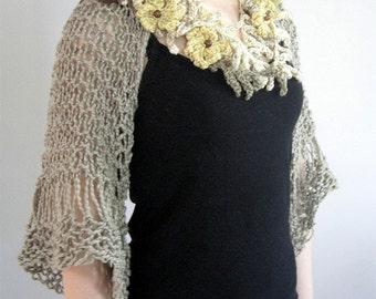 Organic Cotton Yarn Light Dusty Khaki Color Lacy Shoulder Shrug Bolero Sleeves