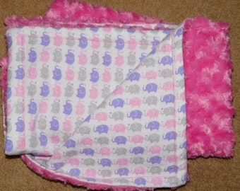 "34"" by 29"" Homemade Snuggle Flannel Reversible Baby Blanket"
