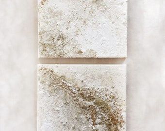 """DUO SET - 12"""" x 12"""" Acrylic Textured Neutral Abstract Canvas"""