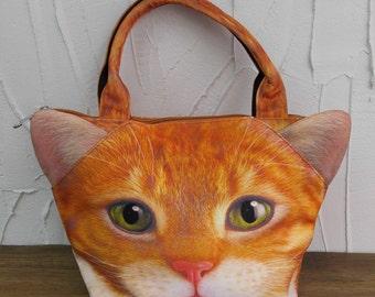 Cat, cat bag, cat tote, cat portrait bag, cat print bag, cat lover bag, pet portrait bag, pet lover bag, animal portrait bag, C009