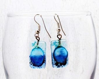 Dark Blue Earrings - Statement Earrings - Fused Glass Jewelry - Light Blue Earrings - Fused Glass Earrings - Bubble Earrings
