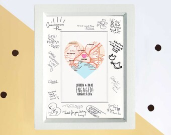 Engagement party guest book -engagement map gift - proposal gift - map heart frame - gift for couple - custom wedding gift