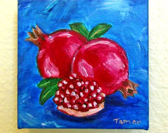 Pomegranate Painting, Pomegranate gifts, Original Painting, Art for the Kitchen, Still Life, Jewish Artwork, Judaica Wall Art, Rimonim