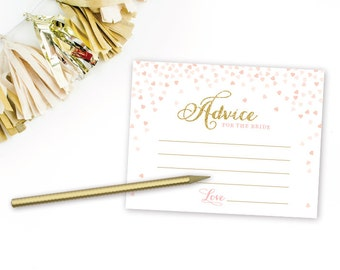 Printable Bridal Shower Wedding Advice Cards for the Bride . Bridal Shower Games Printable Instant Download . Digital File . Pink and gold