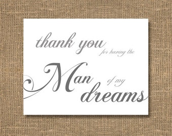 Thank You For Having The Man of My Dreams - Grooms Wedding Sentiments, Wedding Notecard, Wedding Sentiments Note, Brides Wedding Note Card