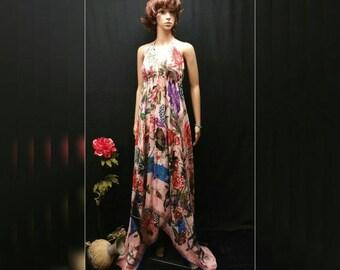 Scarf Dress, Pink Square Scarf Halter Maxi Dress, Convertible Boho Dress, Twill Scarf Dress, Cruise Dress, Handkerchief Dress, Plus Size XL