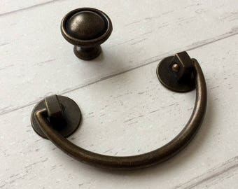 "3"" Rustic Drop Handle Bail Drawer Pulls Handles Knobs Dresser Pull Knob Antique Bronze Swing Cabinet Pulls 76 mm ARoseRambling Vintage Style"