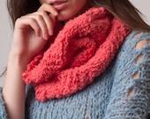 Dark pink eyelash cowl, single loop, warm scarf, neck wrap, women accessory, handknit neck scarf, soft, fashion gift, fluffy thick knit cowl