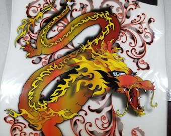 Dragon Iron on transfer for shirt by Tattoo Inc,