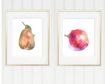 Fruits watercolor Print, pear print, Apple Print, 2 prints set, kitchen watercolor prints, Apple Art Print, Fruit prints set, kitchen prints