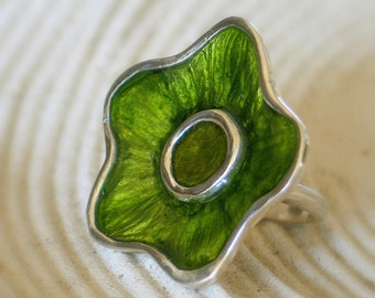 Green Flower Ring, Statement Flower Sterling Silver Ring