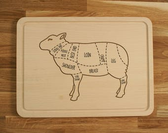 Personalized Engraved Chopping Cutting Board Lamb Cuts Butcher Sheep Diagram Birthday Gift, Mother's Father's Day Gift, Groomsman Wedding