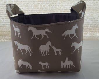 Storage Organizer Basket Bin Container Fabric - Champion Horses