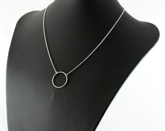 Sterling Silver Necklace, Simple Necklace, Delicate Chain Necklace, Modern Necklace, Circle Pendant Necklace, Geometric Jewelry, Simplistic